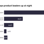 Bar graph charting what keeps product leaders up at night. Prioritization is responsible for 59.5%, user behavior analysis is responsible for 22.4%, conversion UX is responsible for 11.2%, feature automation is responsible for 2.7%, other miscellaneous tasks are responsible for 4.2%.