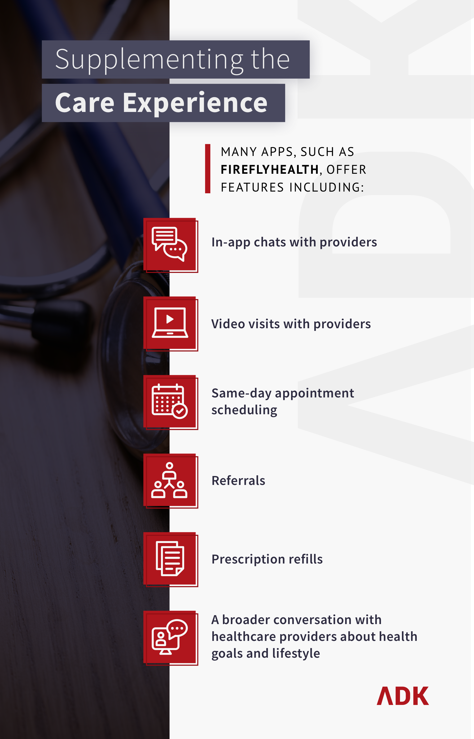 infographic about Supplementing the Care Experience. It says: Many apps, such as fireflyhealth, offer features including in-app chats with providers, video visits with providers, same-day appointment scheduling, referrals, prescription refills, and a broader conversation with healthcare providers about health goals and lifestyle.