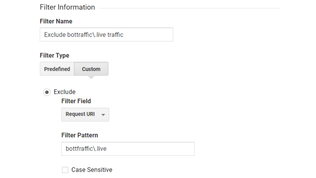 Google Analytics filter information for excluding bottraffic\.live traffic. Using a custom filter type, exclude Request URI = bottraffic\.live