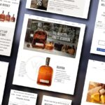 Several screenshots from the Woodford Reserve website overlaying a blurred grey background.
