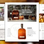 Three screenshots of the Woodford Reserve website over a blurred background of oranges. From left to right, the screens are of upcoming events, the homepage, and a cocktail recipe.