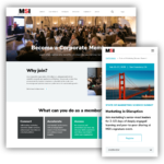 A collage of two images from the MSI website. The first image is from a desktop device and shows the Corporate Members page. The second image is from a mobile device and shows an upcoming conference called