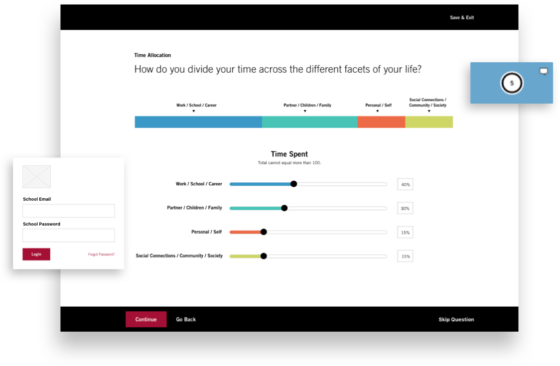 Screenshots of the survey tool