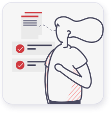 graphic of woman thinking of checklists