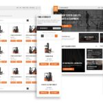 A collage of four screens from the new Toyota Material Handling website. Two of the screens (one desktop and one mobile) show the Find a Forklift page, which features different types of forklifts and has filtering functionality along the left hand side. The other two screens (one mobile and one desktop) show the homepage, which features links to shopping tools such as