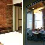 Two side by side images of the old Fresh Tilled Soil office. The first image is on from the perspective of the inside of an office. There's a brick wall with modern paintings above a bookshelf. The second photo is of two people collaborating in the office at a white table.