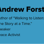 Graphic of Andrew Forsthoefel's Bio. To the right is Andrew's headshot, and to the left is his bio: Author of
