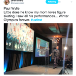 Tweet by Janae Sharp that says: Paul Wylie Little does he know my mom loves figure skating I saw all his performances...Winter Olympics forever. #uxfest. The image is of Paul Wylie on stage at UXFest.