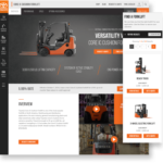 Two screens (one desktop and one mobile) from the new Toyota Material Handling website. The desktop screen shows a product page that outlines the features and benefits of the Core IC Cushion Forklift. The mobile screen shows the Find a Forklift results page, displaying a Reach Truck and a 3-Wheel Electric Forklift.